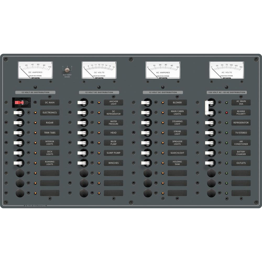Blue Sea 8095 AC Main +8 Positions / DC Main +29 Positions Toggle Circuit Breaker Panel   (White Switches)