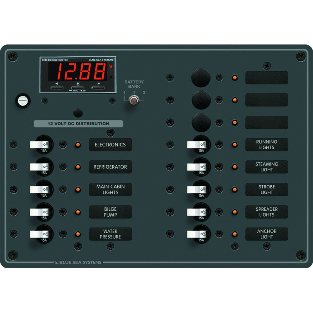 Blue Sea 8403 DC Panel 13 Position w/ Multimeter